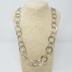 Vtg Boojee silver tone hoops statement necklace